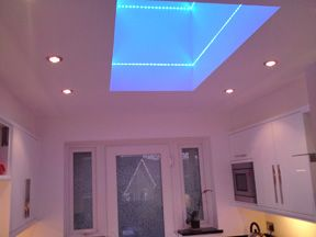 Led lighting in skylight box area